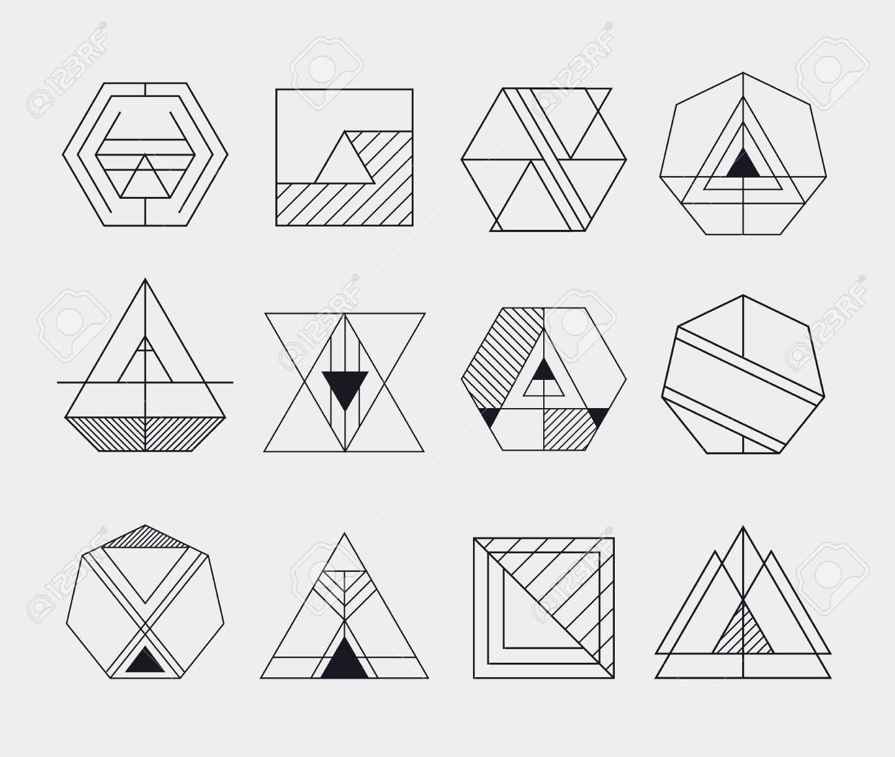 Set of retro line abstract hipster monochrome geometric badge logo, icon, logotype design templates - 44438822