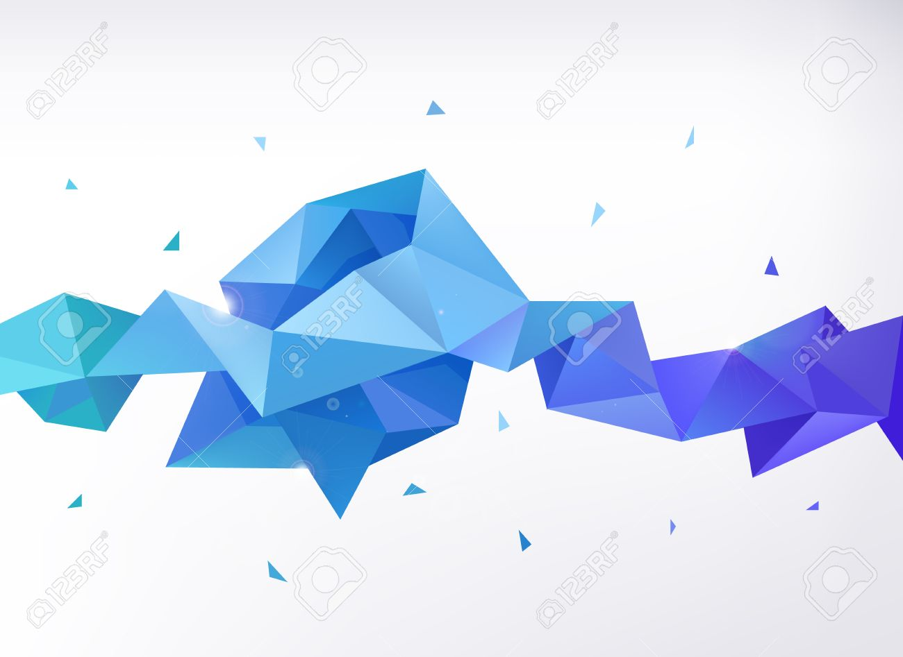 Vector abstract colorful blue faceted crystal banner, 3d shape with triangles, geometric, modern template - 47346900