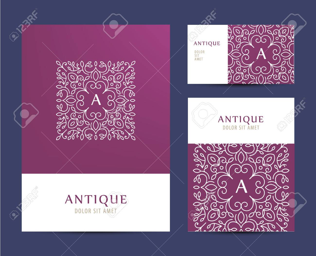 Vector Business Set Template With Monogram Letter Logo. Business ...