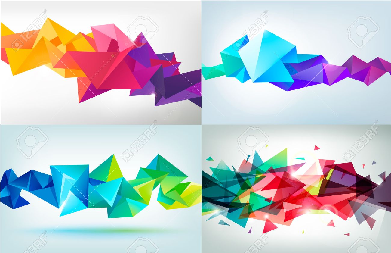Vector set of faceted 3d crystal colorful shapes, banners. - 47346909
