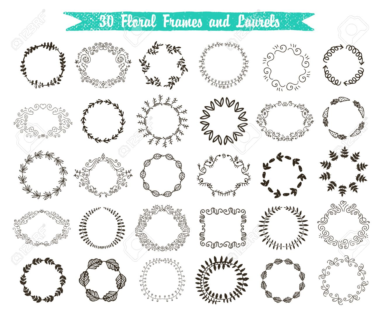 Vector set of 30 hand drawn frames and laurels. Floral, vintage, swirl wreaths isolated. - 47346921
