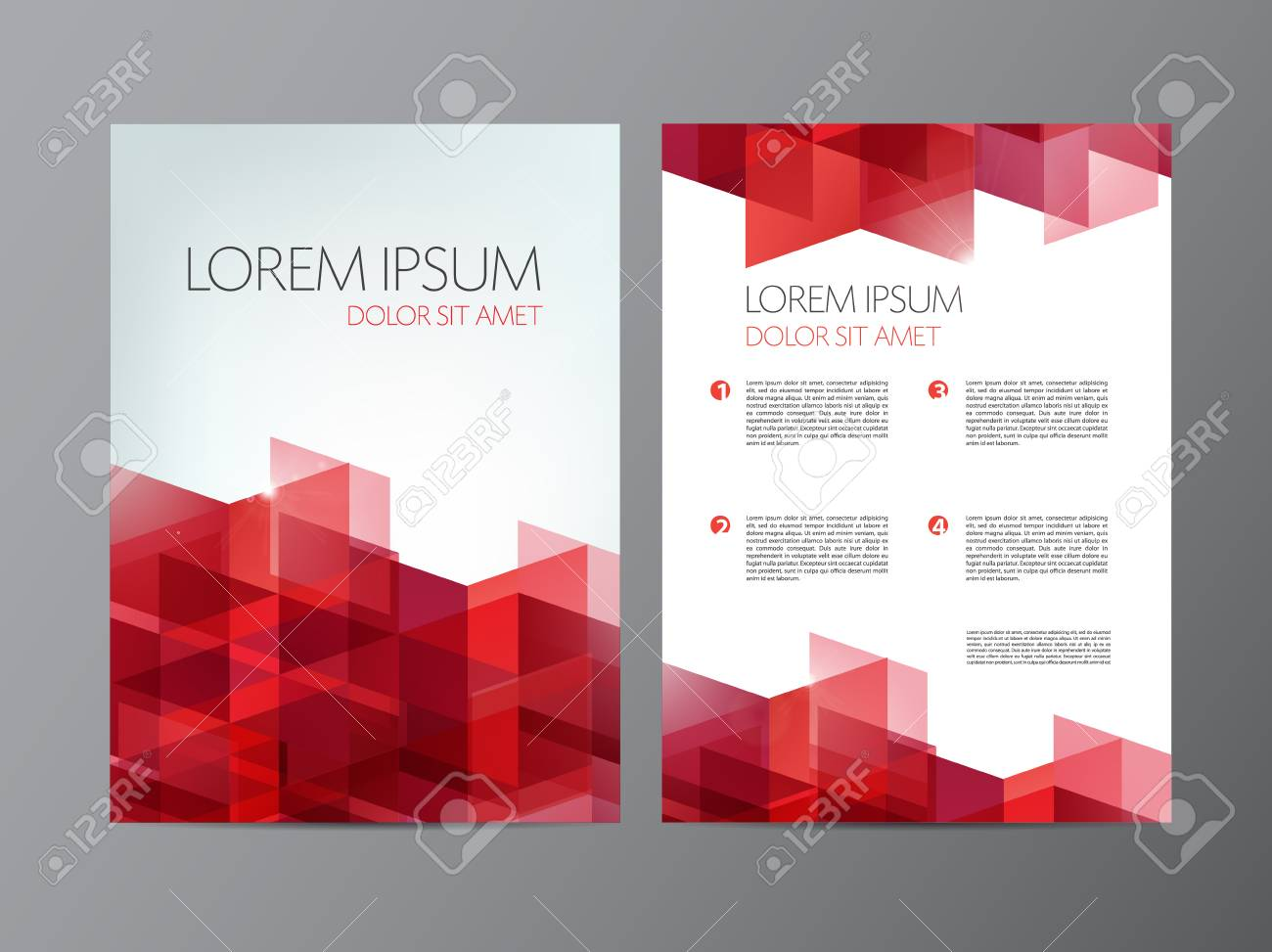 vector flyer, red brochure abstract design 2 sides, background, cover. Modern crystal, geometric - 47346920