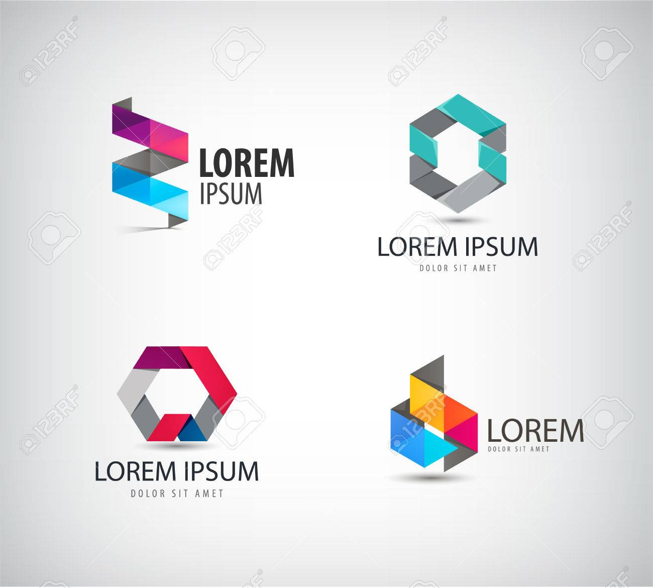 Vector set of abstract colorful ribbon, origami, paper, 3d ions. Identity for company, web site - 47401180