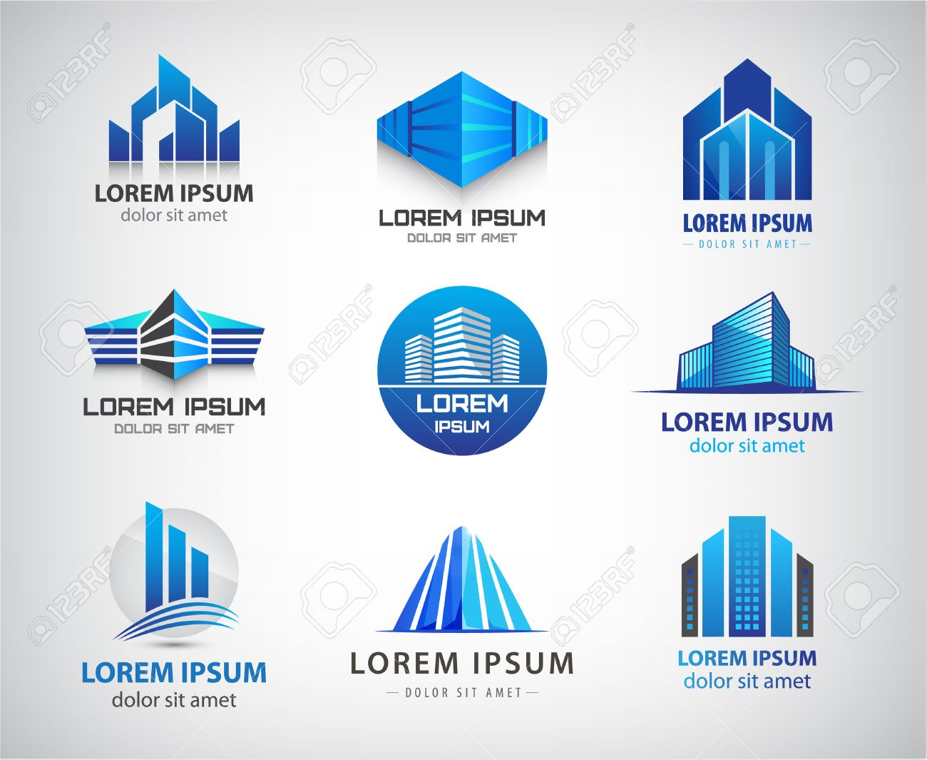 Vector set of blue, modern office, company buildings, skyscrapers icons isolated. Identity - 47401211