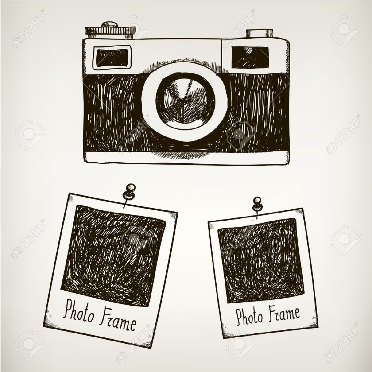 Vector Hand Drawn Illustration With Retro Vintage Camera And