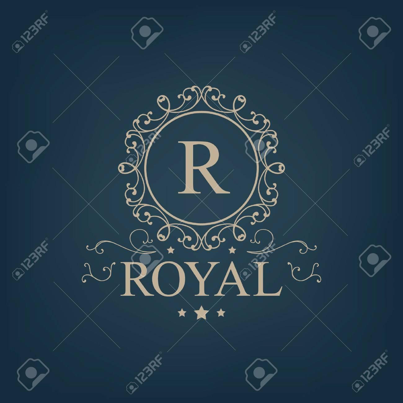 Vector luxury, royal monogram logo, icon isolated. Vintage, retro rich baroque sign, company branding - 47401414