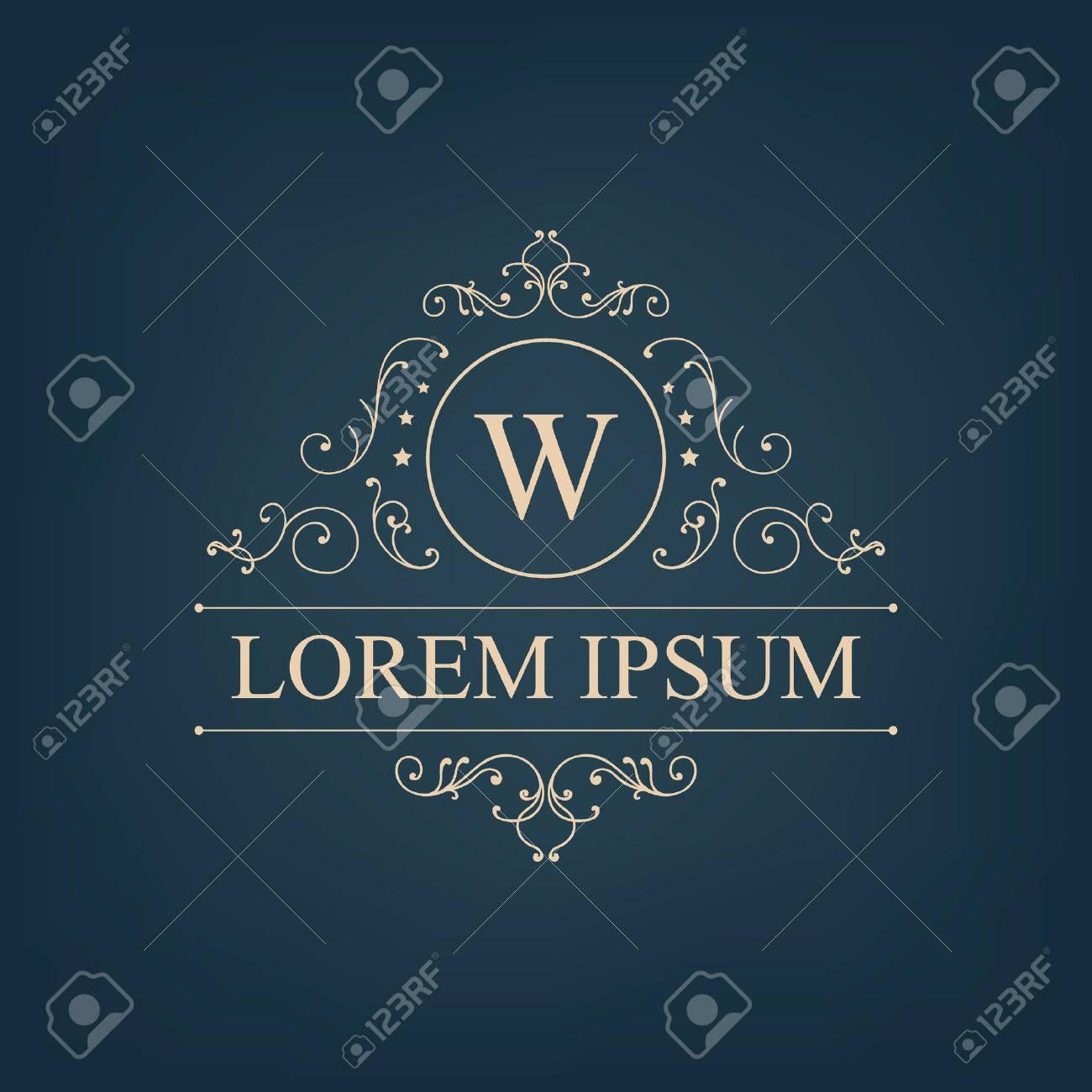 Vector luxury, royal monogram logo, icon isolated. Vintage, retro rich baroque sign, company branding - 47401415