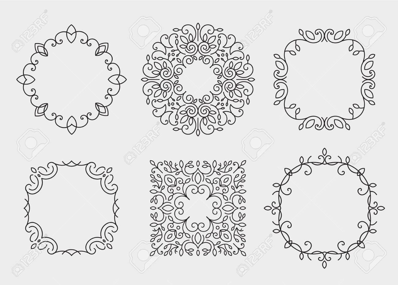 Vector Conjunto De Marcos Monograma, Círculos. Estilo De La Vendimia ...