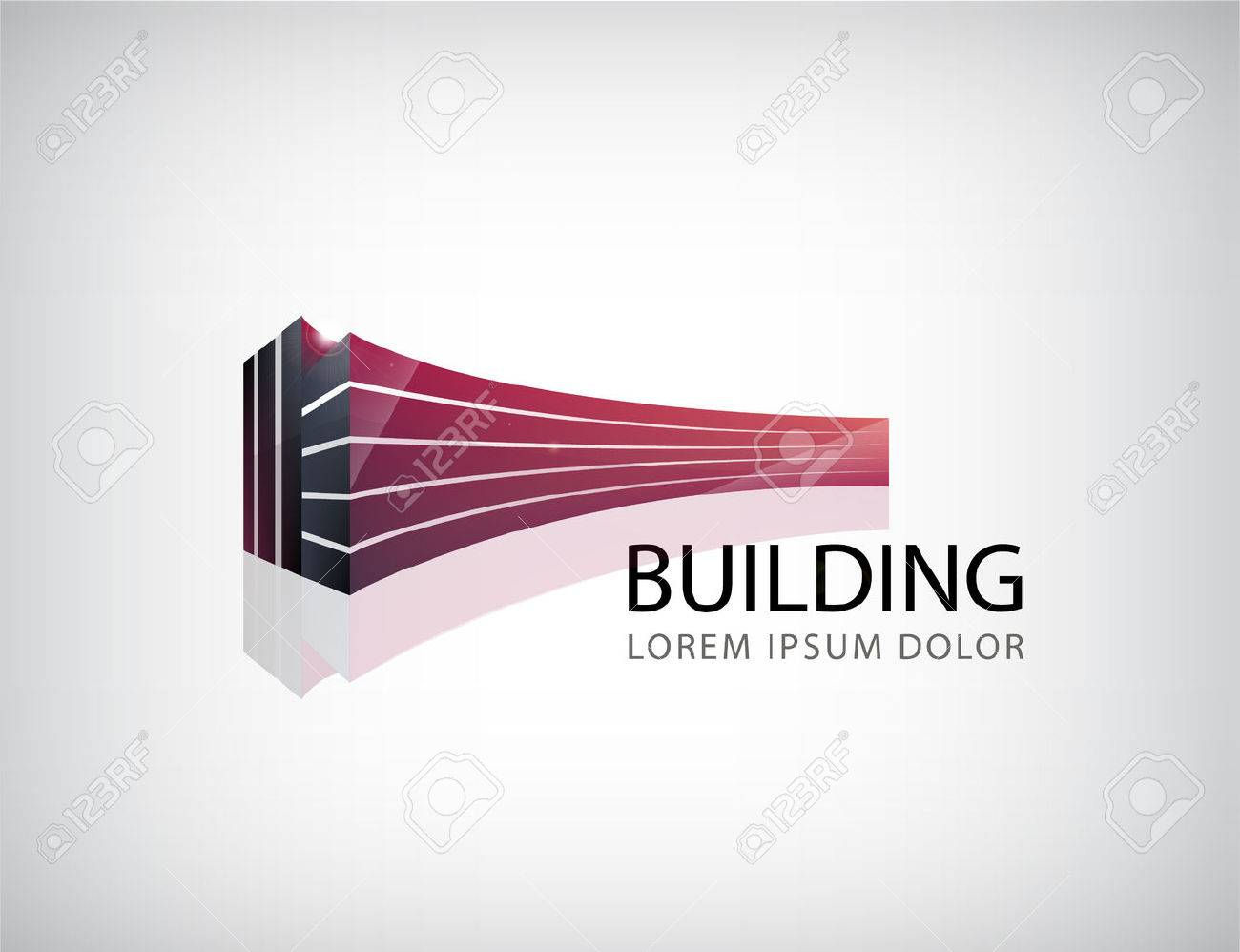 Vector horizontal red 3d building, office logo, icon isolated. Identity - 48739516