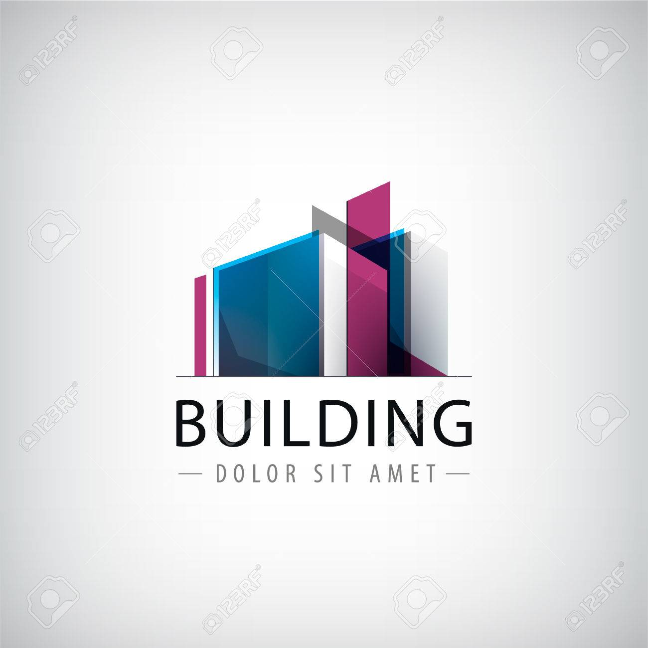 Vector abstract building colorful logo, icon isolated. Transparent geometric structure sign - 49787414