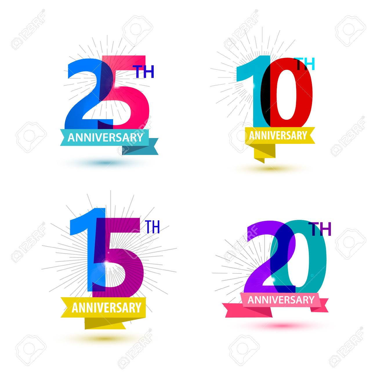 Vector set of anniversary numbers design. 25, 10, 15, 20 icons, compositions with ribbons. Colorful, transparent with shadows on white background isolated - 49787419