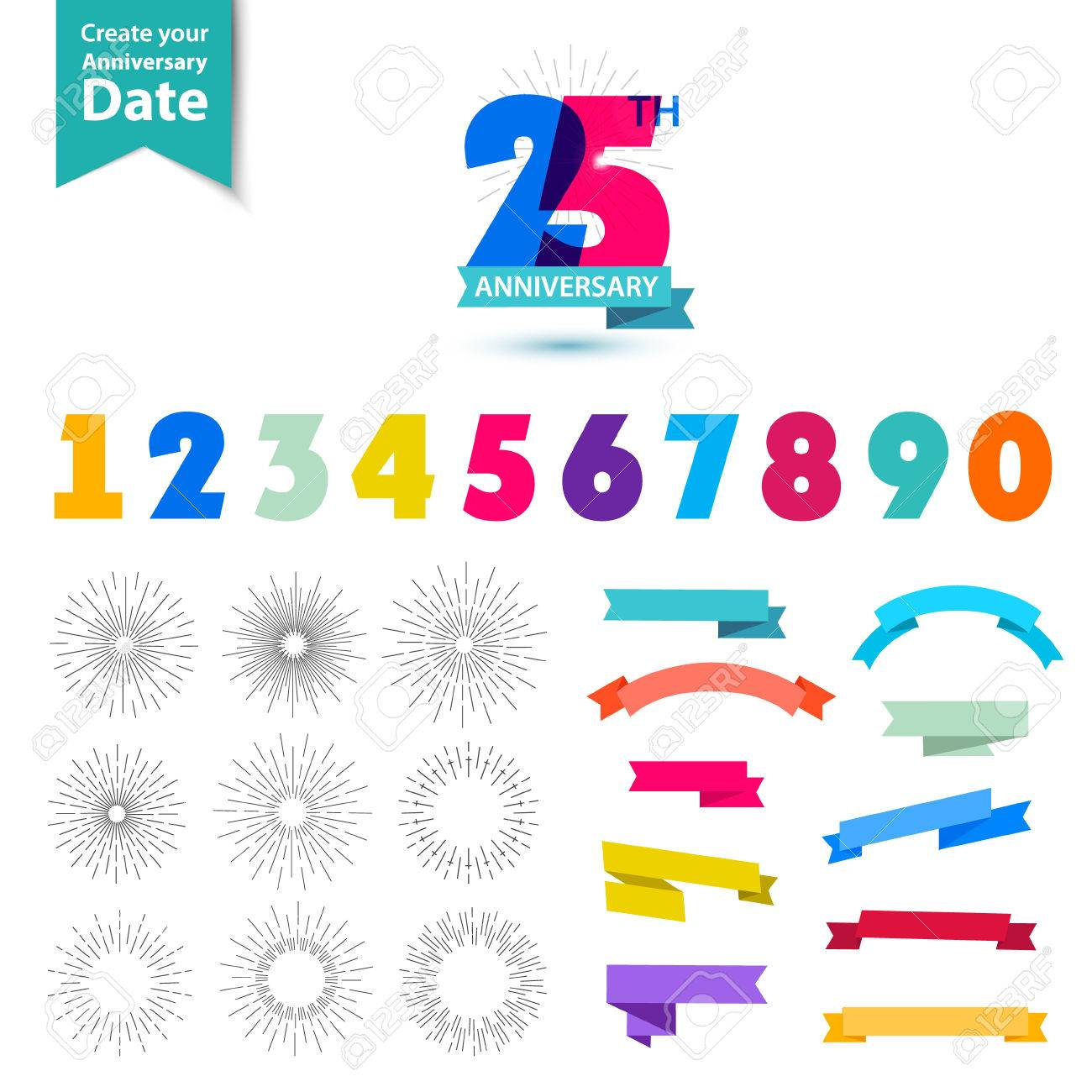 Vector set of anniversary numbers design. Create your own icons, compositions with ribbons, dates and sunbursts . Colorful retro collection - 50897858