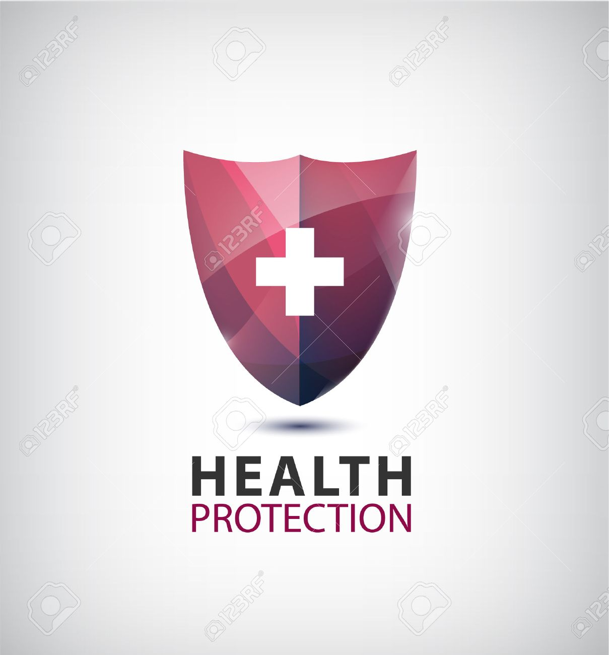 Vector medical logo, health protection logo, shield with cross isolated. - 51517055