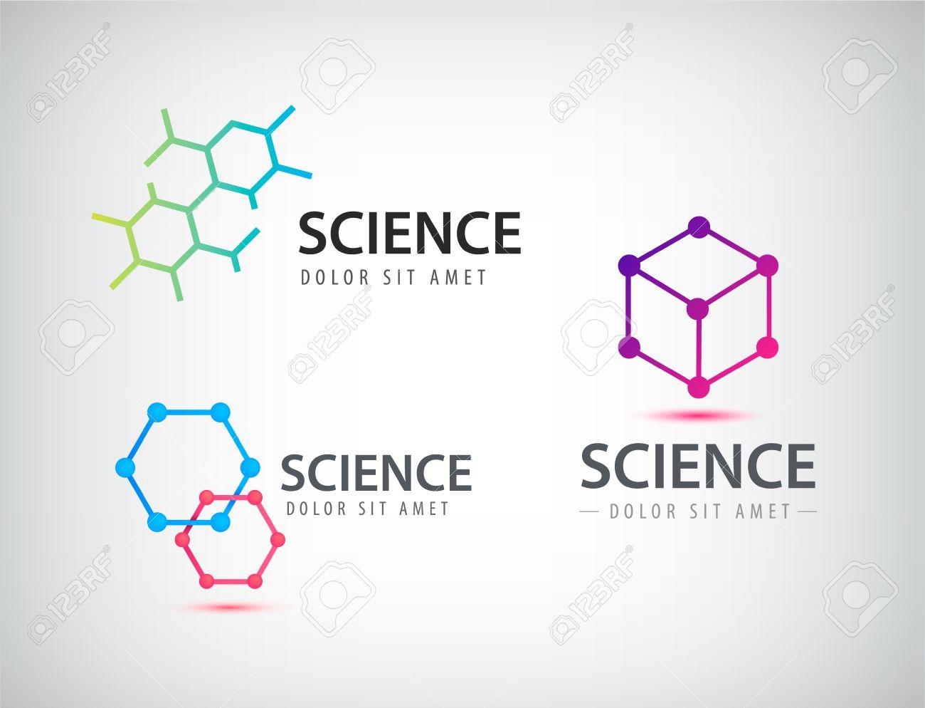 Vector set of science logos, biology, physics, chemistry logo. Laboratory identity - 51516363