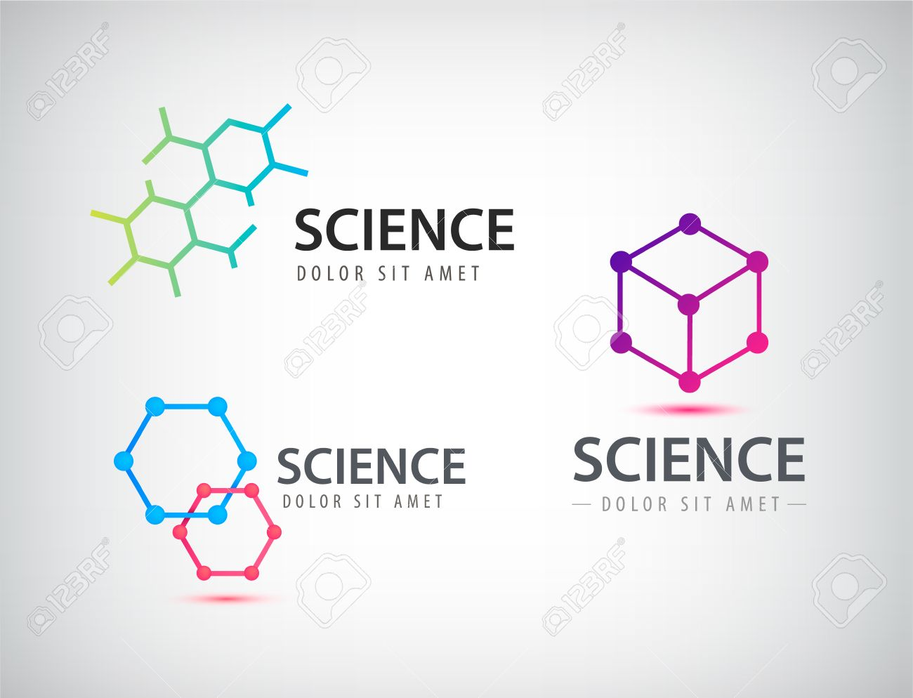 Vector set of science logos biology physics chemistry logo vector set of science logos biology physics chemistry logo laboratory identity stock ccuart Gallery