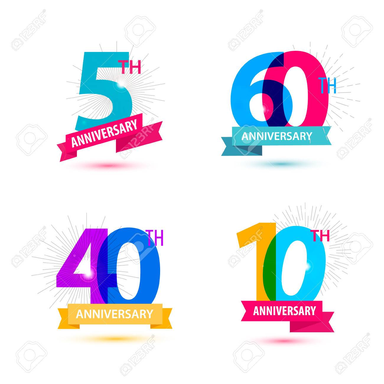 Vector set of anniversary numbers design. 5, 60, 40, 10 icons, compositions with ribbons. Colorful, transparent with shadows on white background isolated - 52738175