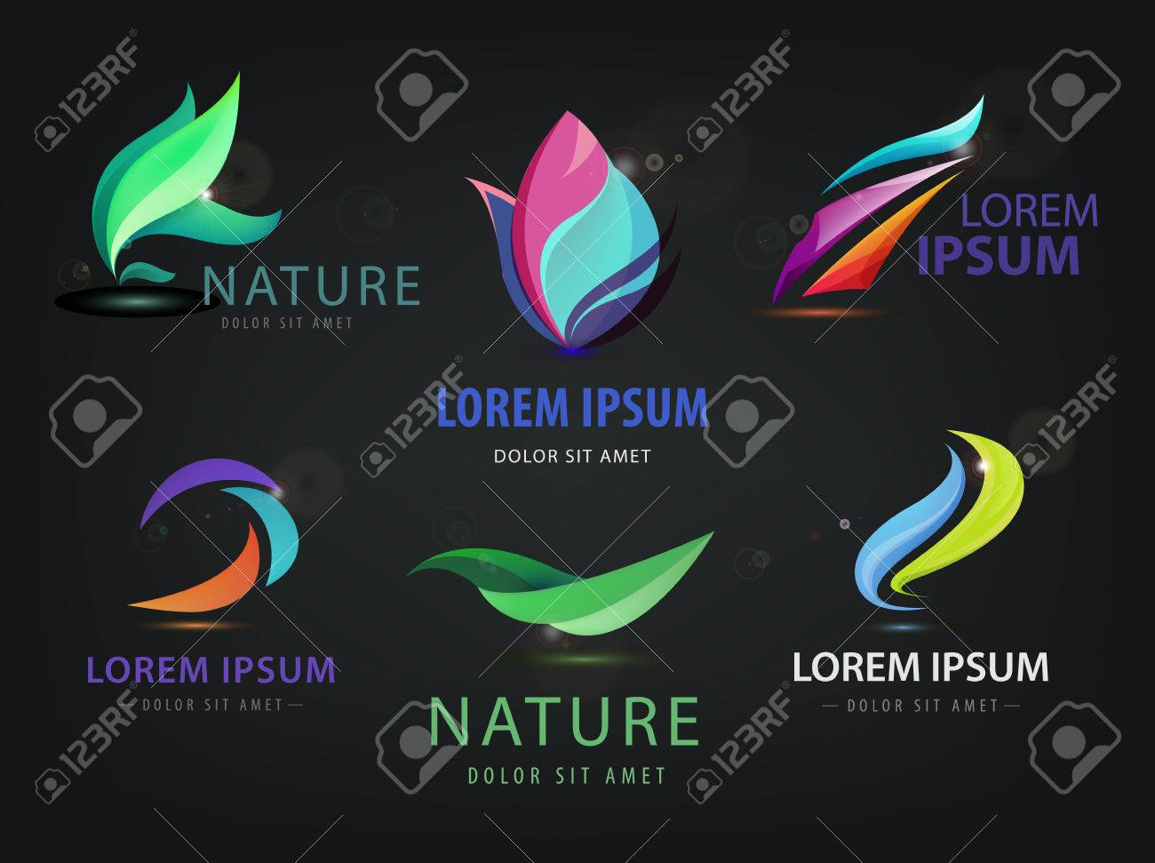 Vector set of abstract wavy, spa, salon, nature logos, icons isolated on dark background. Identity - 52738442