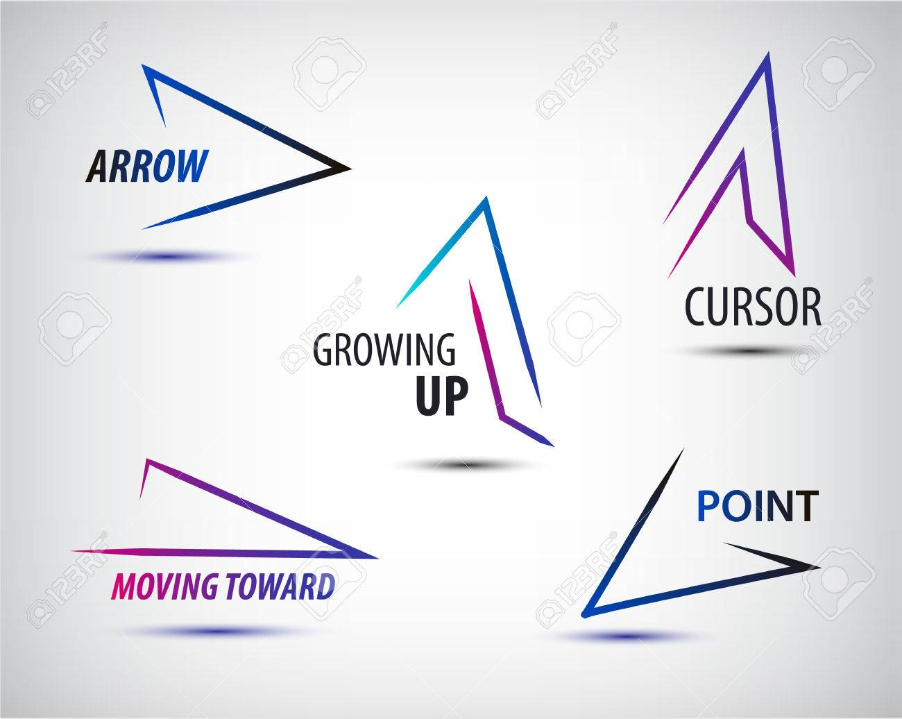 Vector set of line colorful arrows templates, arrow logo design, web logo, icon, abstract, geometric logo - 52756631