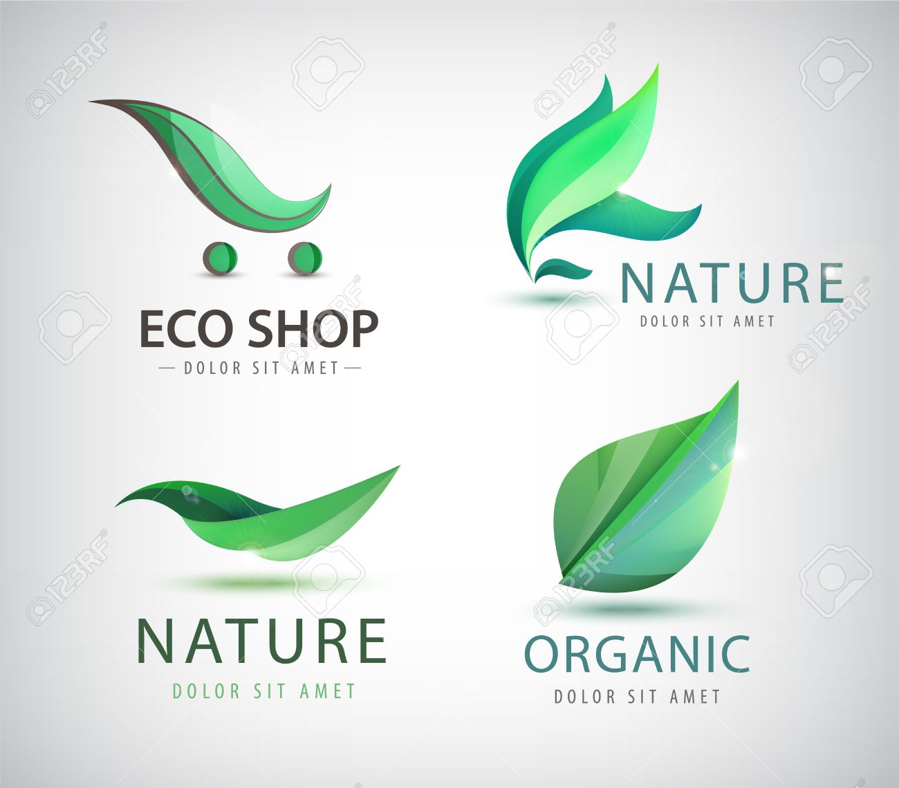 Vector set of eco logos, leaves organic logos, nature logos. Bio energy, organic shop logo icon isolated - 52748174