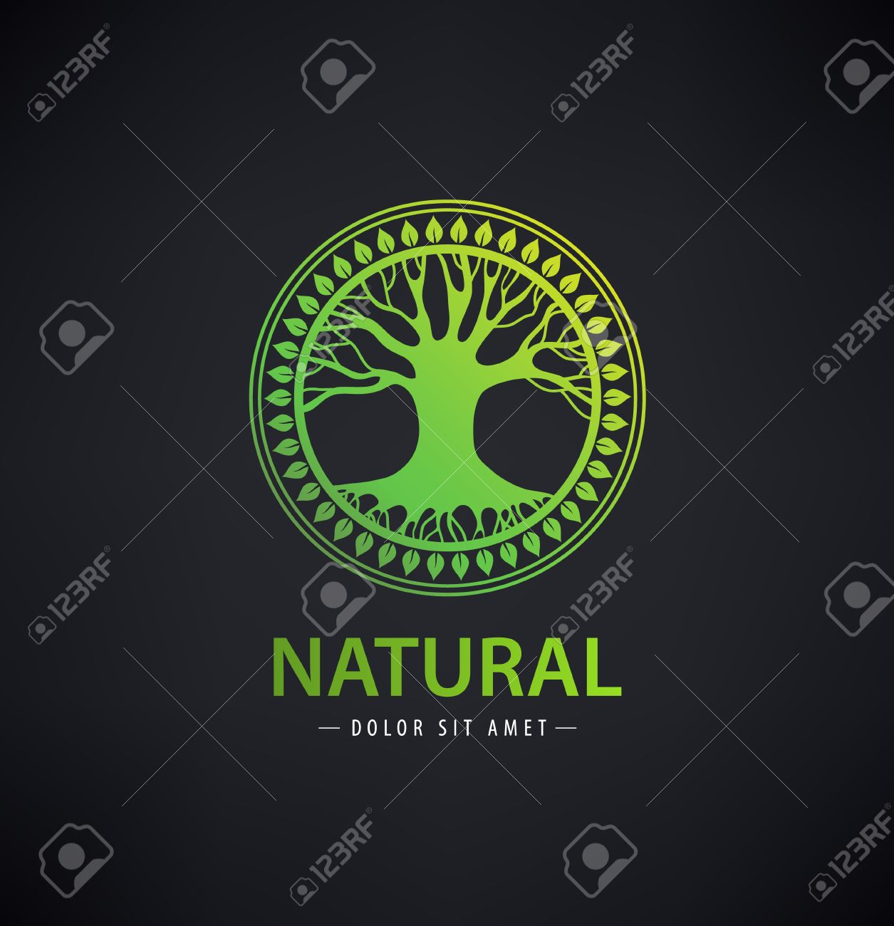 Vector circle eco logo, tree logo, nature organic logo, icon isolated. Tree of life, round sign emblem - 52747829