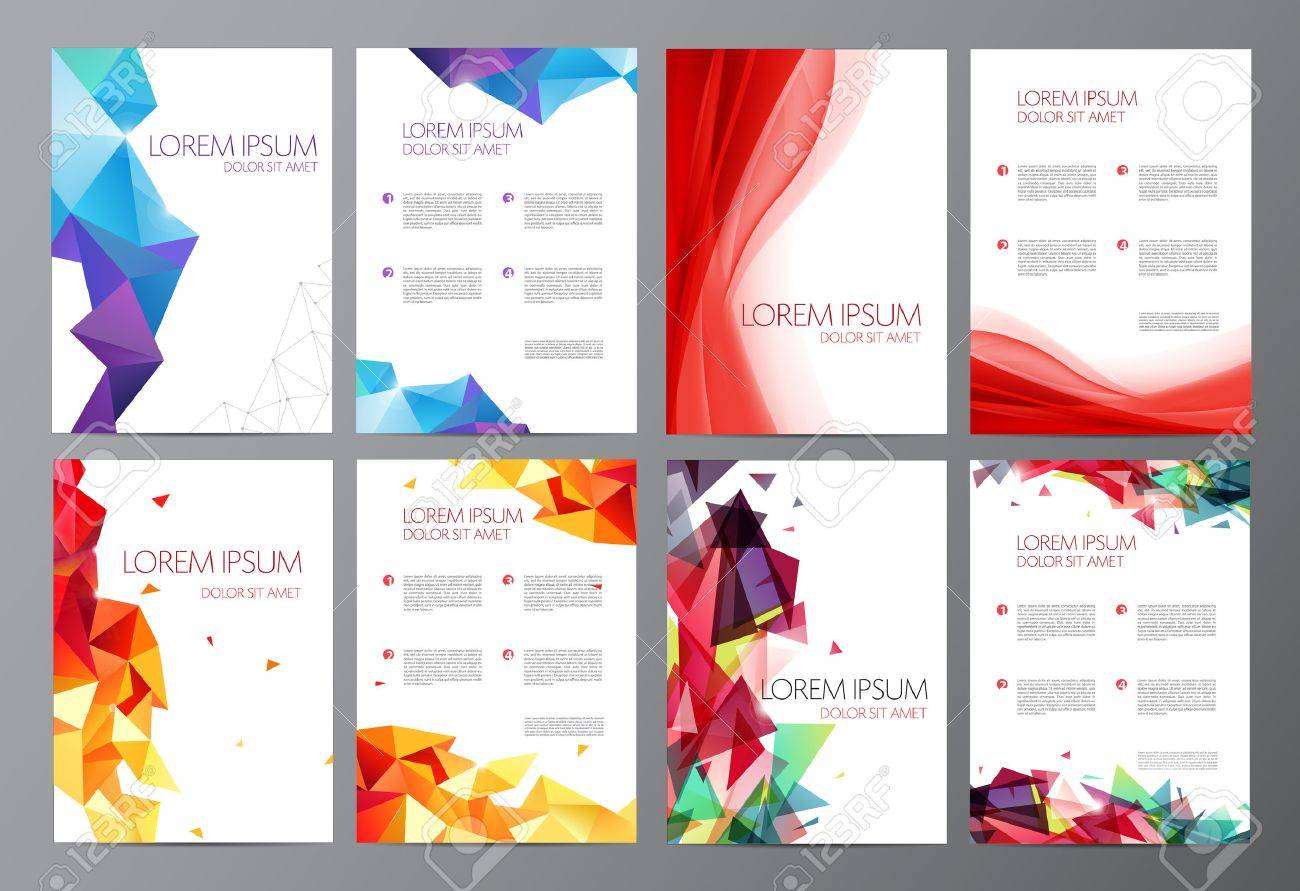 Vector set Abstract modern flyer brochure design templates with geometric triangular background and red wavy transparent background - 52747830
