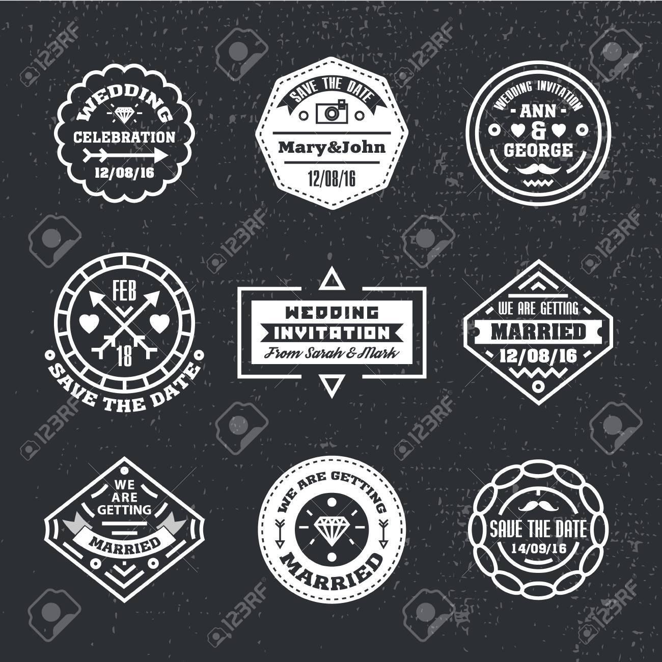 Vector Set Of Vintage Wedding Badges Sings Logos Hipster Modern