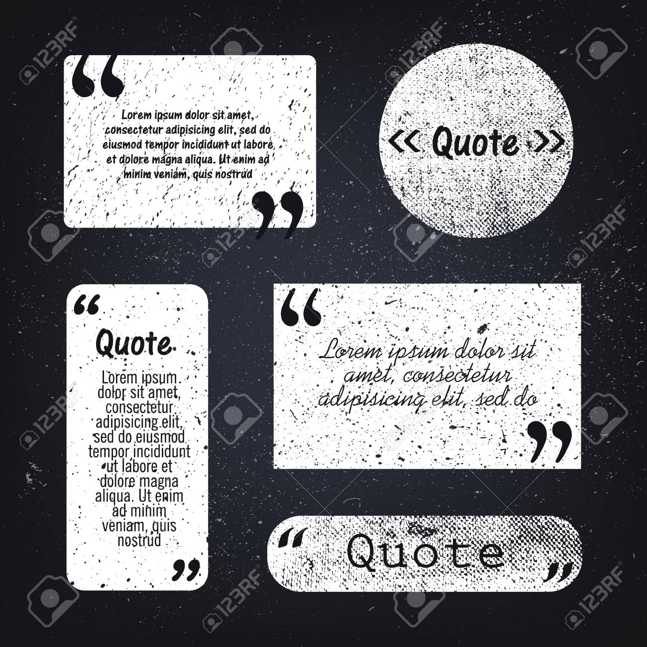 Vector vector set of grunge textured quote bubbles space isolated black and white put your text quotes sayings in the bubbles