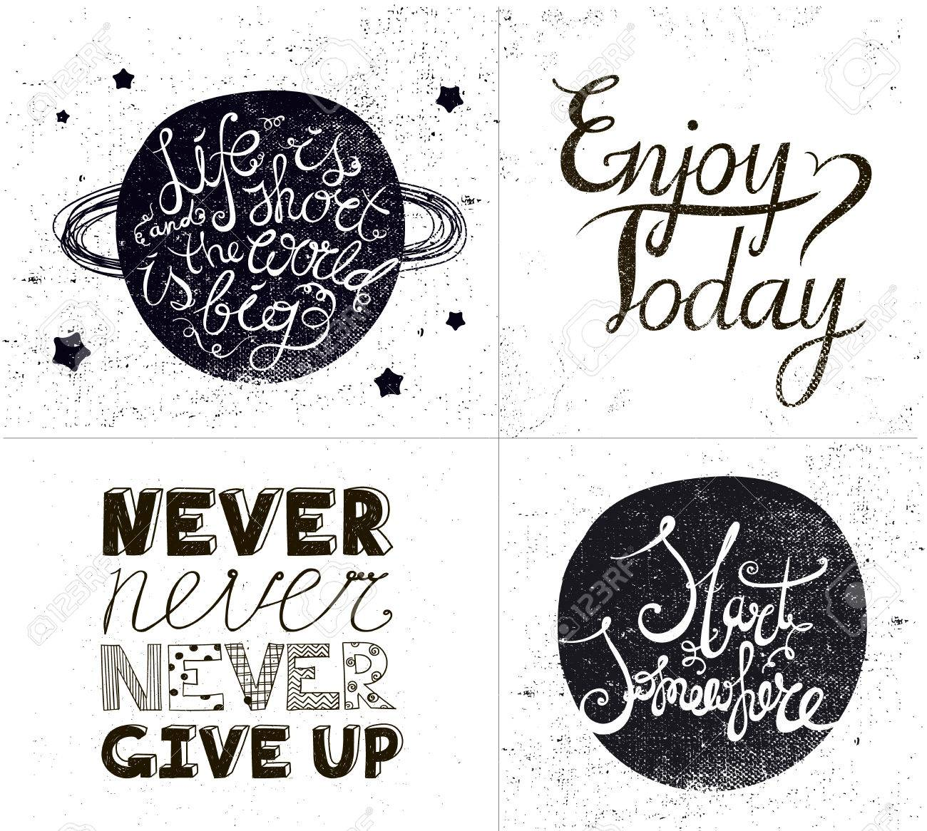 Vector Set Of Inspirational Quotes Hand Drawn Textured Sayings