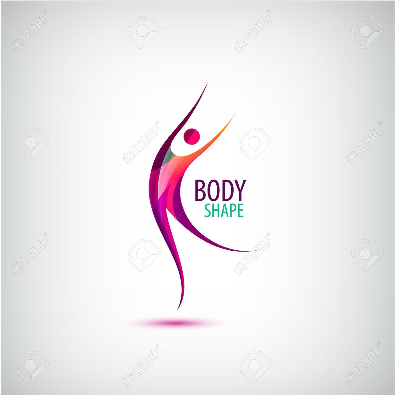 Vector body shape logo. Human icon, dancing, sport, positive man. Healthy life sign Stock Vector - 61051792