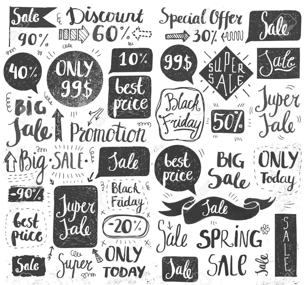 Vector Set Of Hand Drawn Doodle Sale Lettering, Typography, Frames ...
