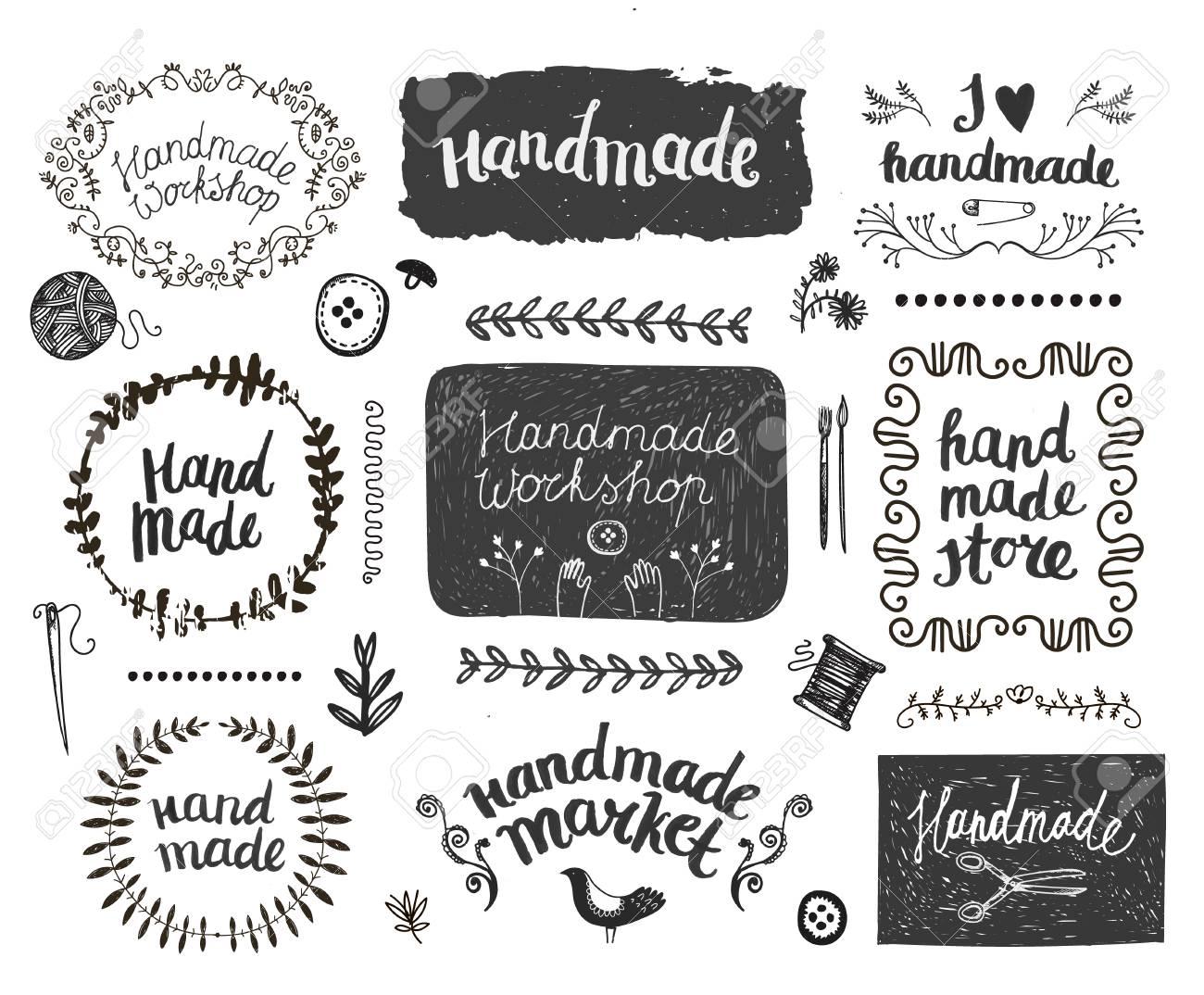 Vector set of hand drawn doodle frames, badges. Handmade, workshop, hand made shop graphic design set. Arts and crafts, sewing elements, icons, , badges set isolated, lettering - 66668089