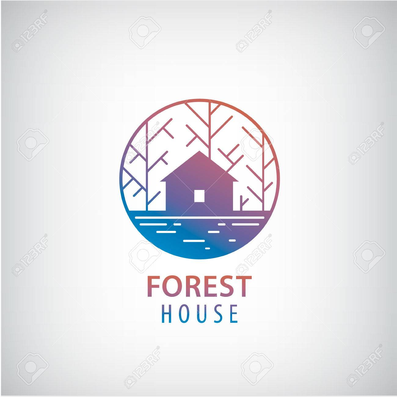 Vector   Vector House In The Woods Logo. Cabin In The Forest Silhouette  Logotype, Property Icon