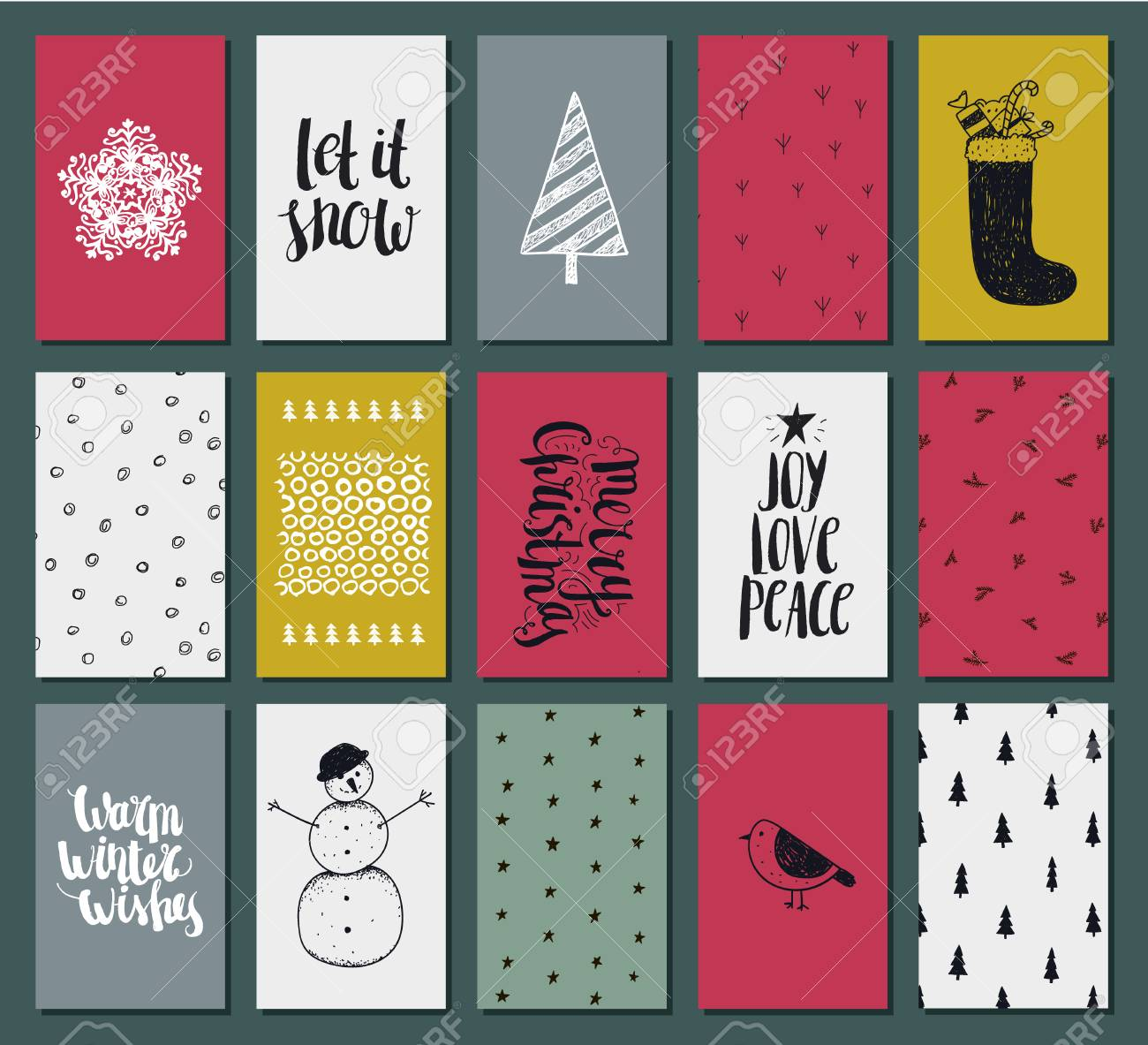 collection of 15 texture christmas and new year cute ready to use gift art