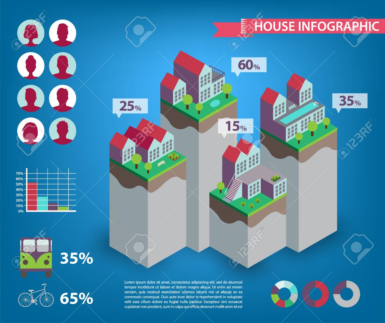 Vector house infographics  City, town living, human icons  Stats