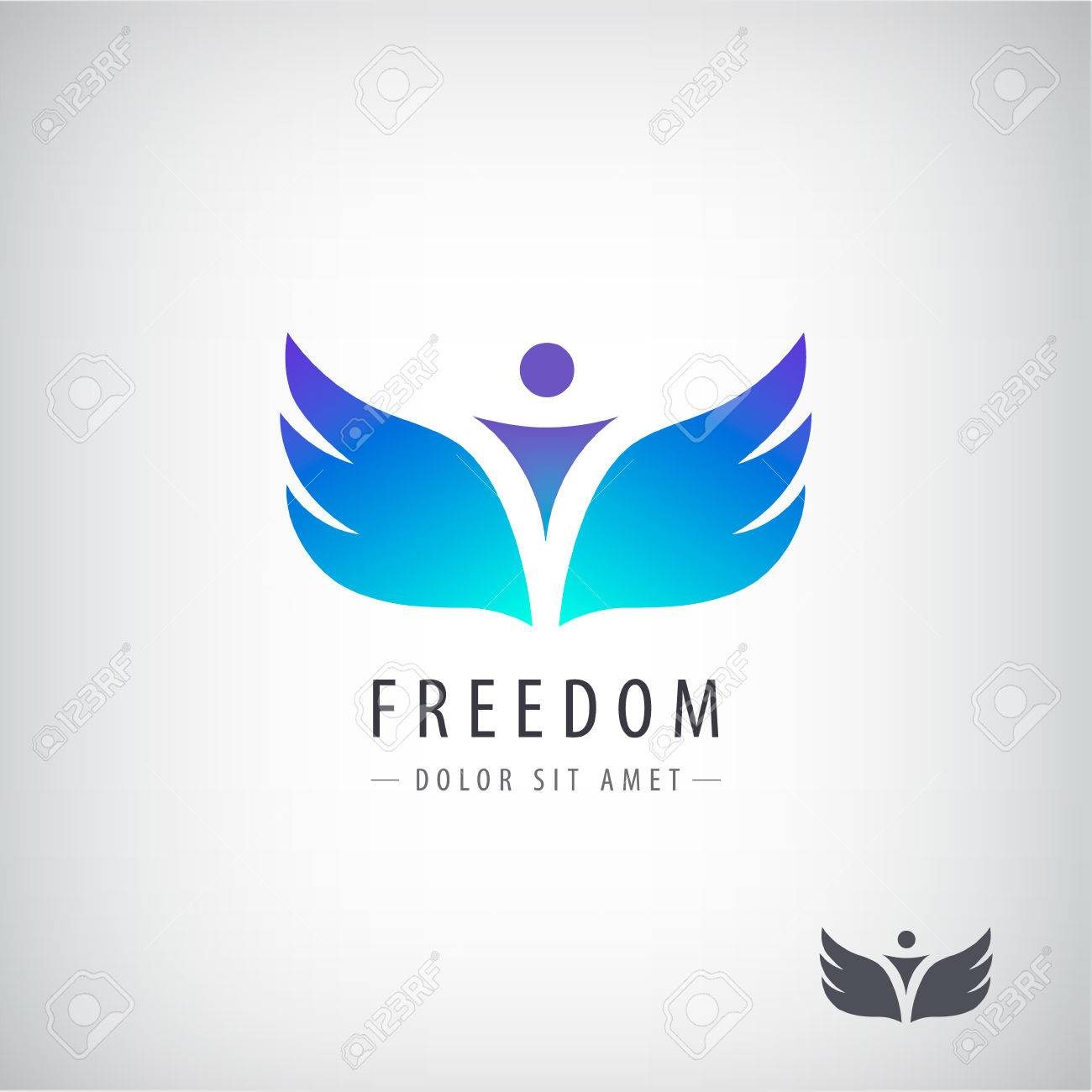 Vector Freedom Logo Concept Man With Wings