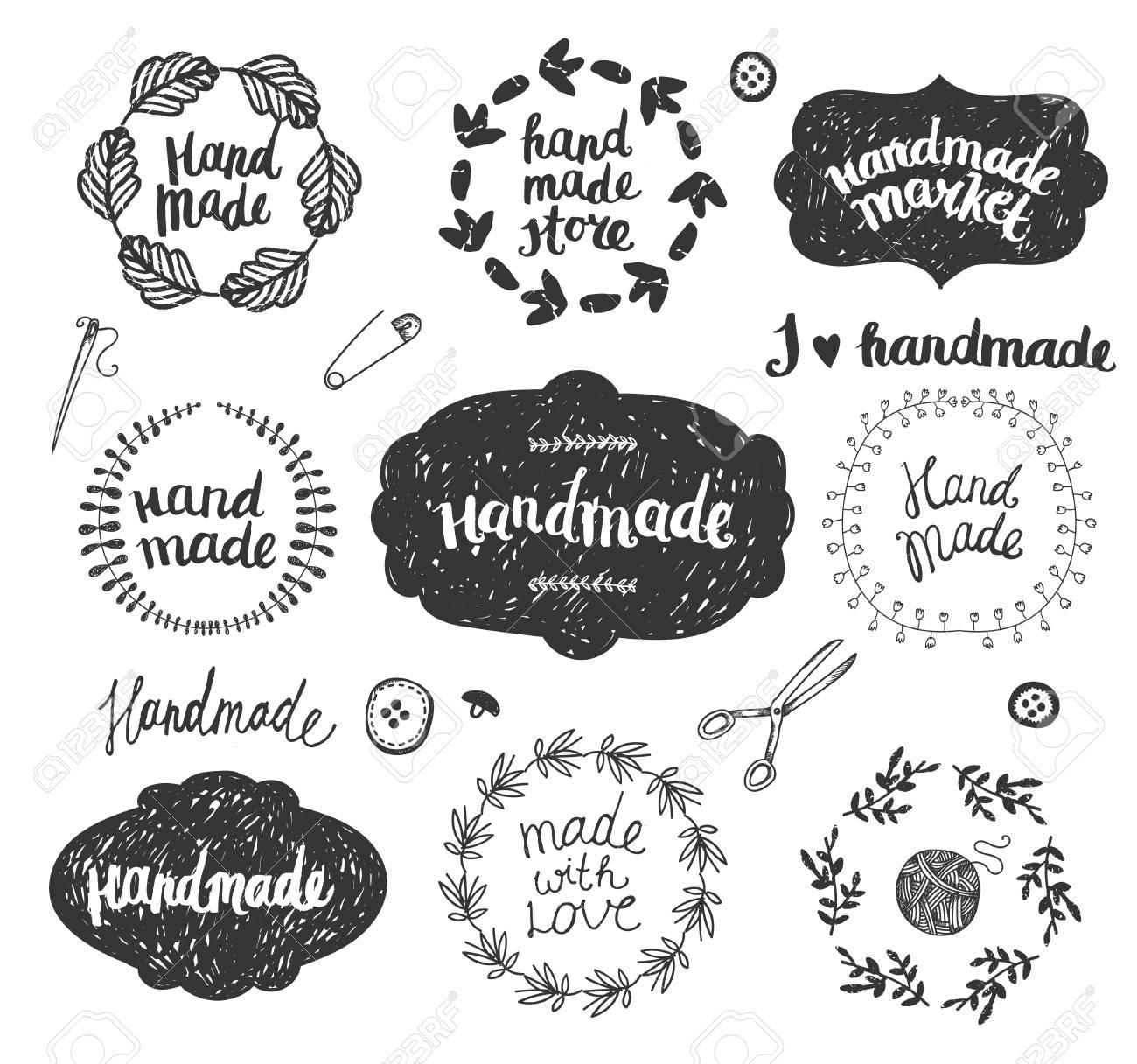 Vector Set Of Hand Drawn Doodle Frames Badges Handmade Workshop