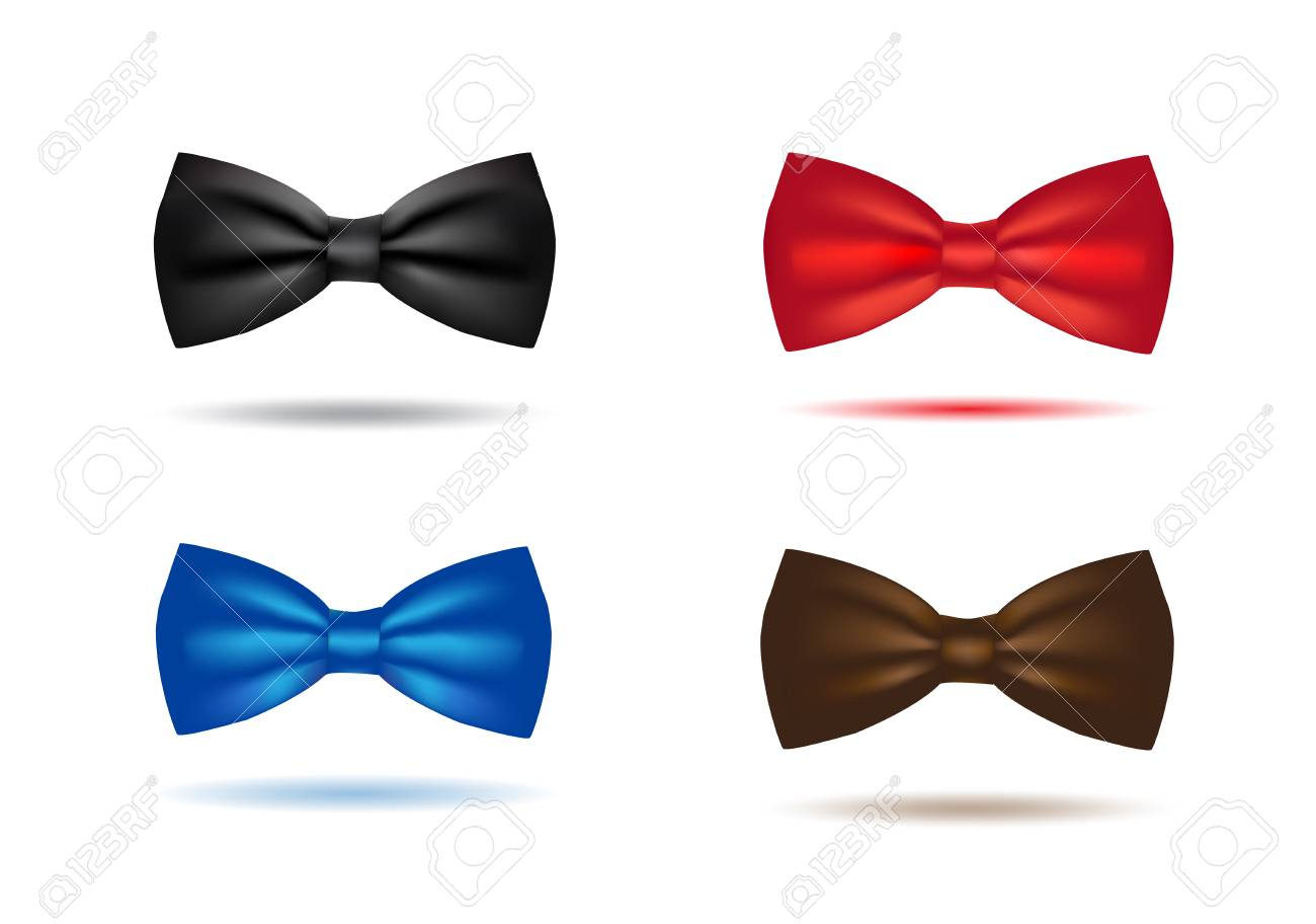 Vector silk black bowtie in polka dots. Isolated on white background. - 126680526
