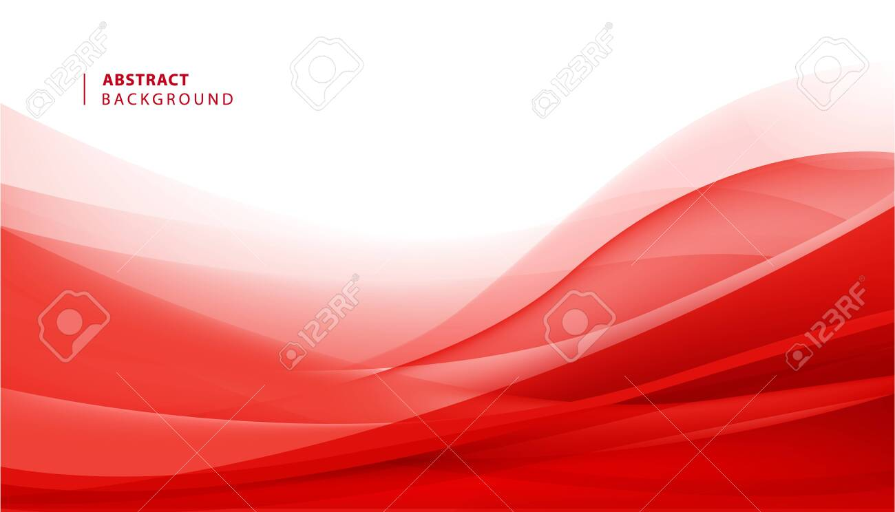 Vector abstract red wavy background. Curve flow motion illustration - 122226011
