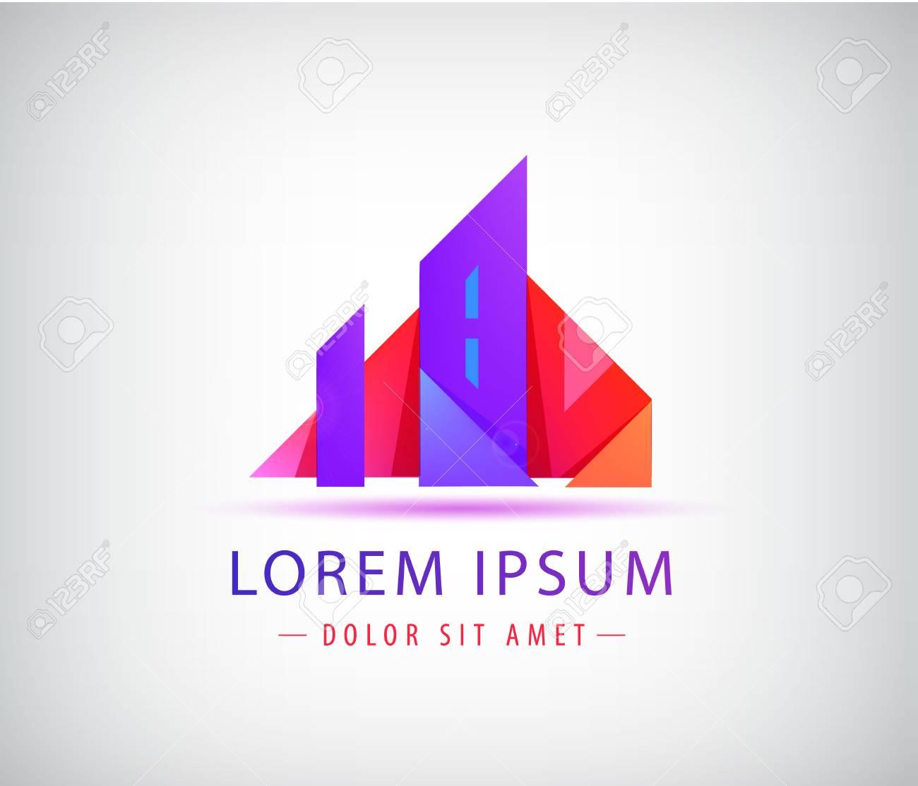 Real estate logo template. Origami city concept, building - 125472777