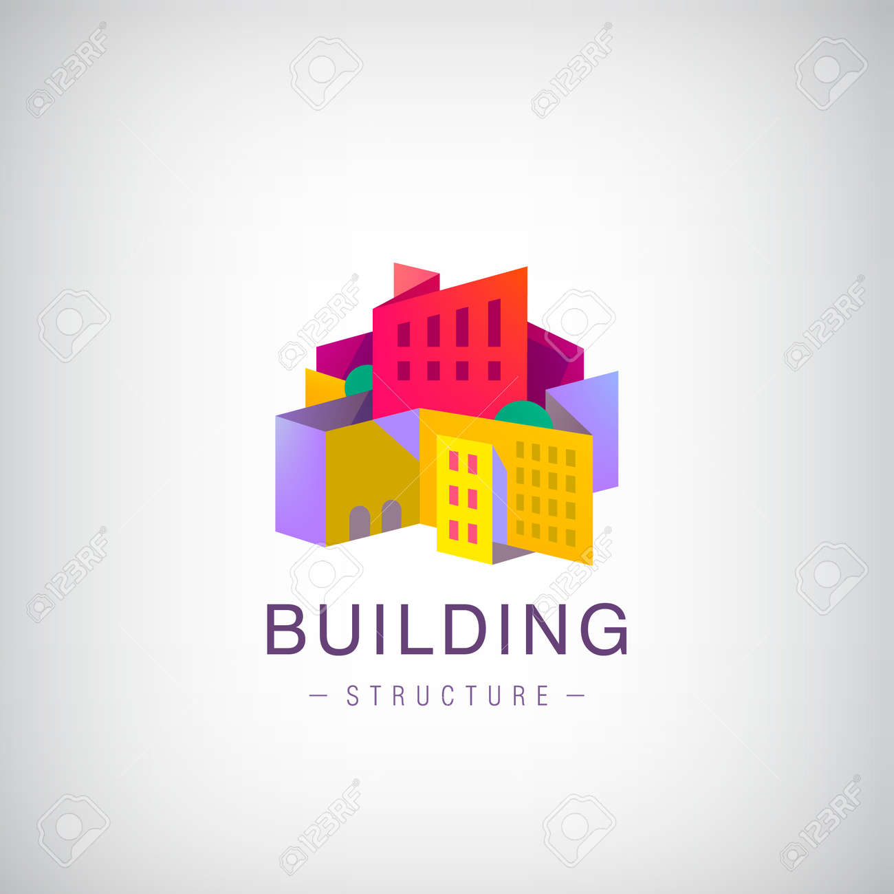 Vector origami building structure, city scape construction, colorful 3d logo, icon. Real estate, houses - 157409760