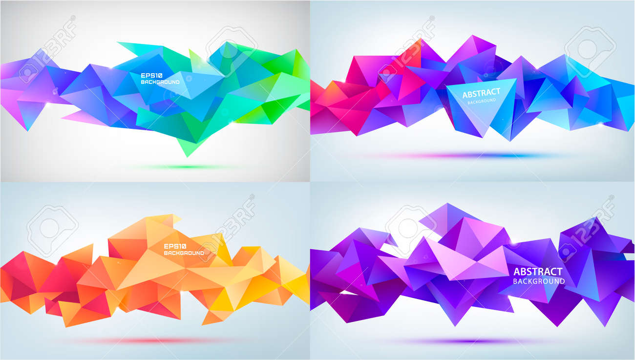 Vector set abstract geometric 3d facet shapes isolated. Use for banners, web, brochure, ad, poster, etc. Low poly modern style background. Purple, blue, orange - 168609555