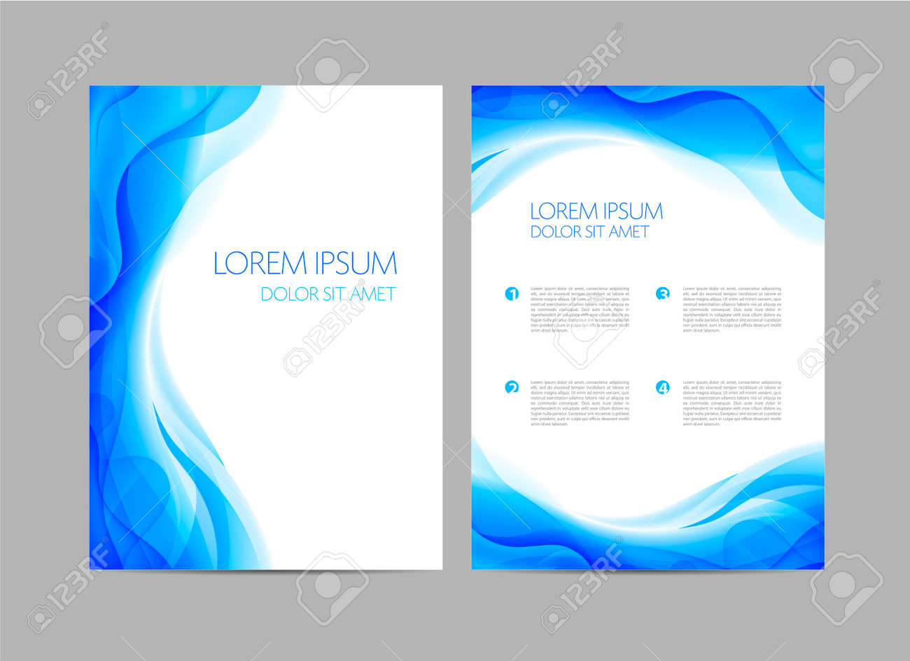 Vector set of abstract blue annual report templates, water covers, wavy background, flyers, brochures. Flow - 169538423