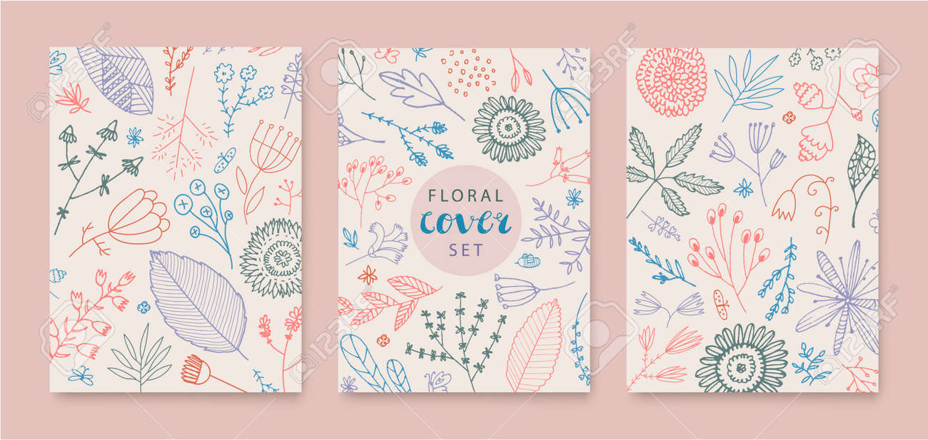 Set of vector abstract creative universal artistic templates - doodle hand drawn flowers, leaves. Use for poster, card, invitation, flyer, cover, banner, placard, brochure, graphic design. - 171516339