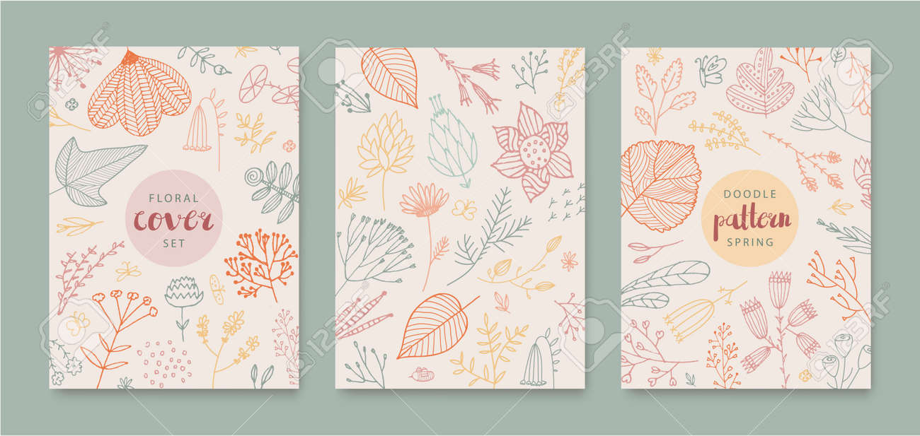 Set of vector abstract creative universal artistic templates - doodle hand drawn flowers, leaves. Use for poster, card, invitation, flyer, cover, banner, placard, brochure, graphic design. - 171516340