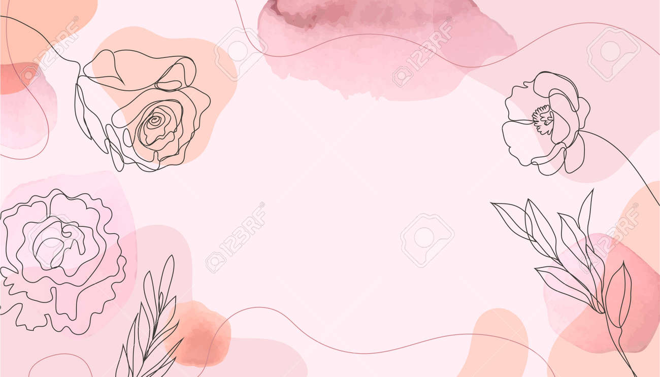 Abstract watercolor art background vector. Botanical line art wallpaper. Wall decoration, postcard or brochure cover design, banner beauty - 171516406