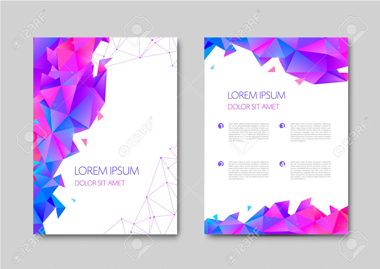 Set of vector bright abstract polygonal contemporary templates, posters, placards, brochures, banners, flyers, backgrounds and etc. Facet, low poly template covers - 171516412