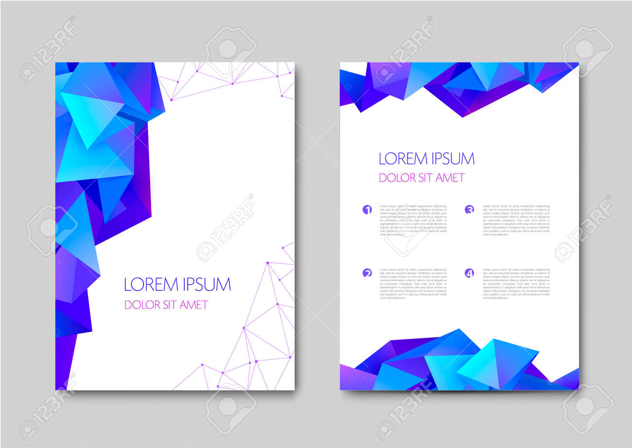 Set of vector bright abstract polygonal contemporary templates, posters, placards, brochures, banners, flyers, backgrounds and etc. Facet, low poly template covers - 171516413