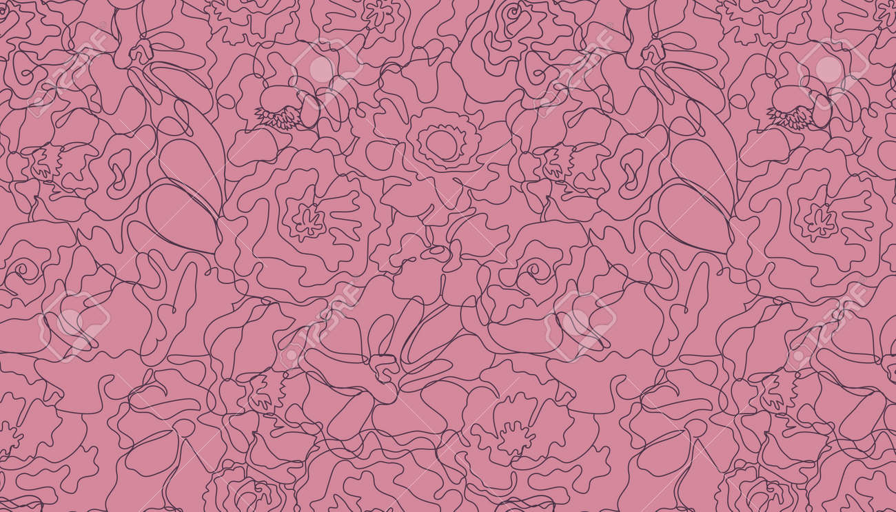 Vector abstract continuous line seamless floral pattern. Hand drawn flowers, petals graphic linear background. Art, hand-drawn - 171516416