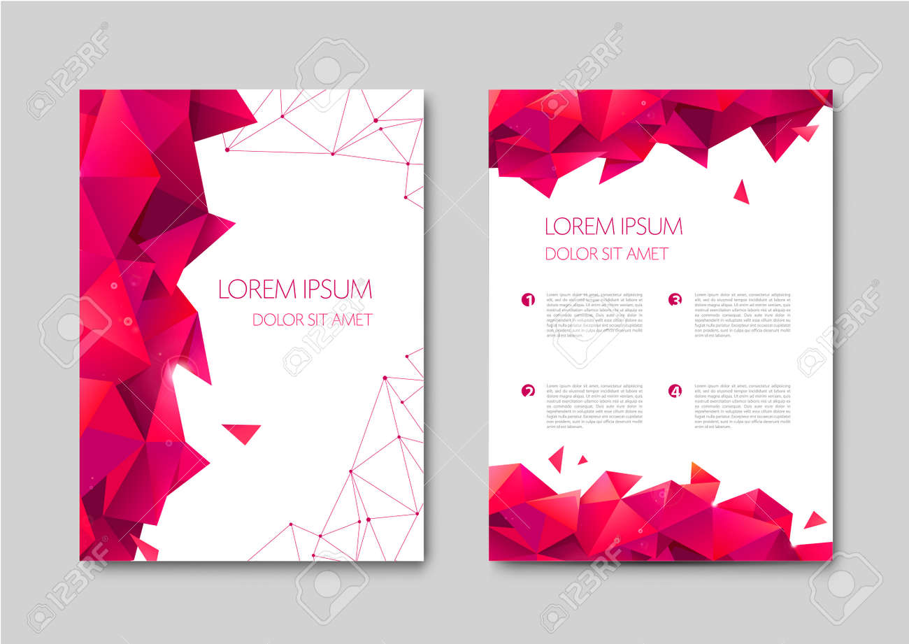 Set of vector bright abstract polygonal contemporary templates, posters, placards, brochures, banners, flyers, backgrounds and etc. Facet, low poly template covers - 171516422