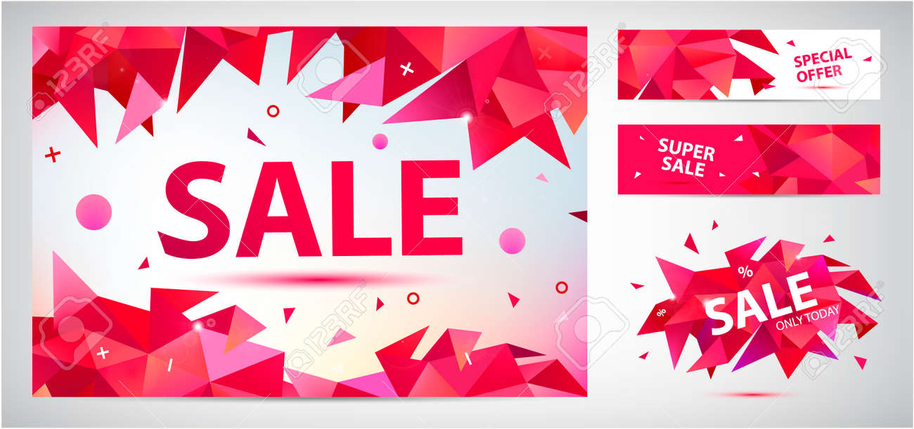 Vector set of geometric anstract sale banners, discount facet triangular red backgrounds, horizontal orientation. Graphic illustrations for advertising, marketing, design and art projects - 171516423